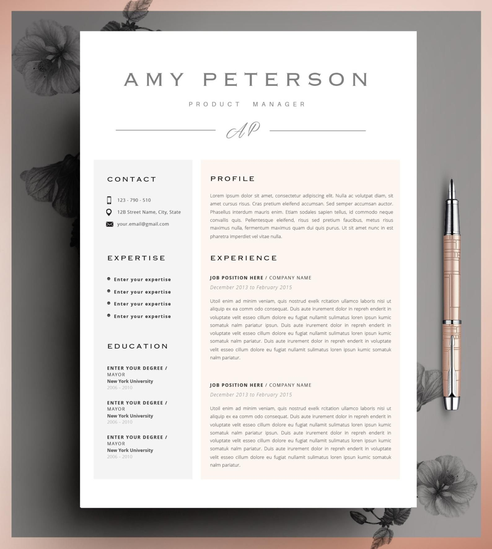 Professional CV Curriculum Vitae 2 Page Resume Simple