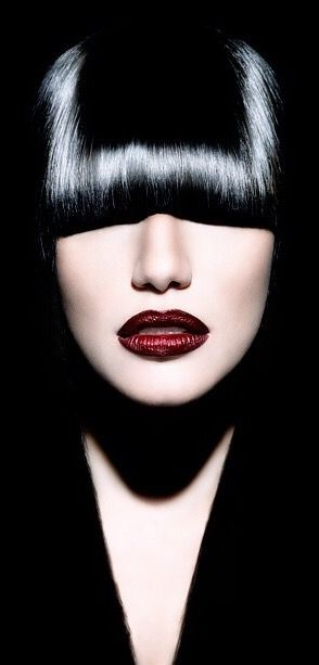 Short Black Wig With Red Lip Beautiful Lips Portrait