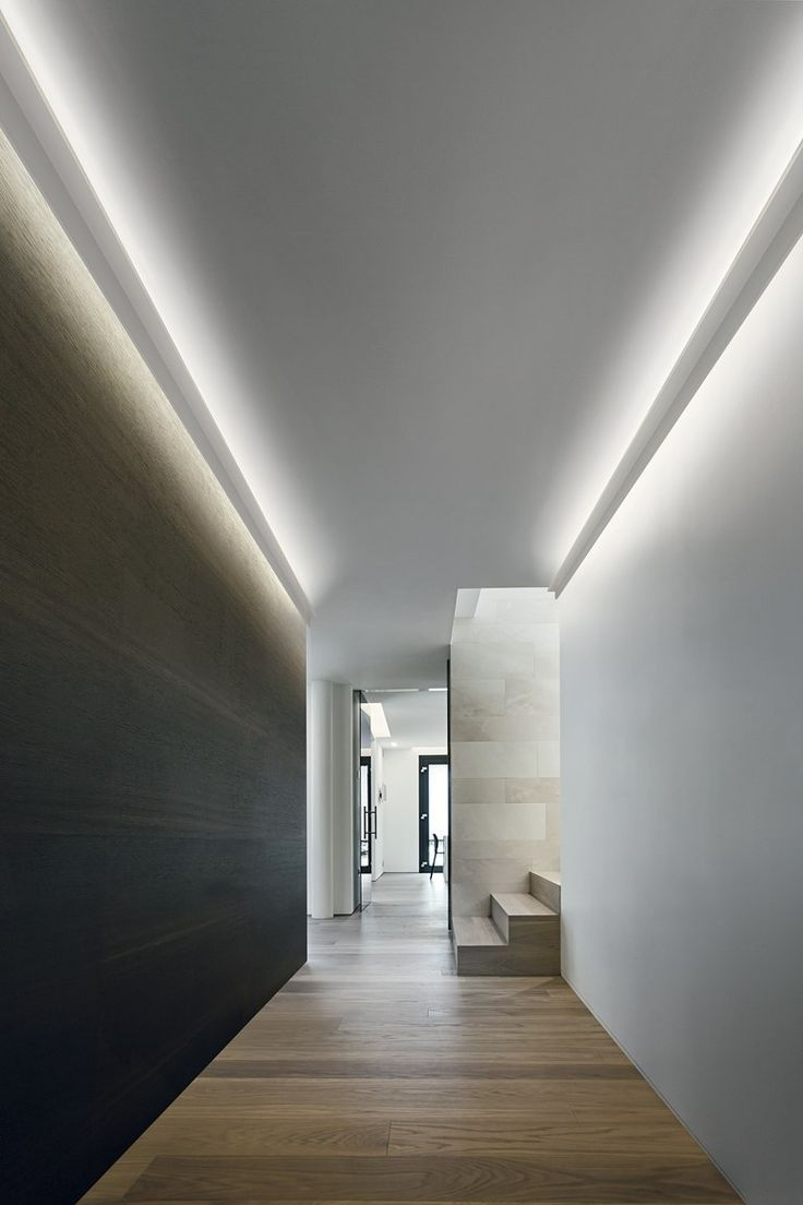 indirect lighting ceiling. Linear Lighting, Indirect Hallway Ceiling Lighting Design, Residential Interior Architecture, House Interiors, \