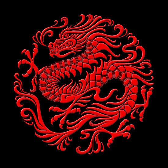 Traditional Red Chinese Dragon Circle Art Print Chinese Dragon