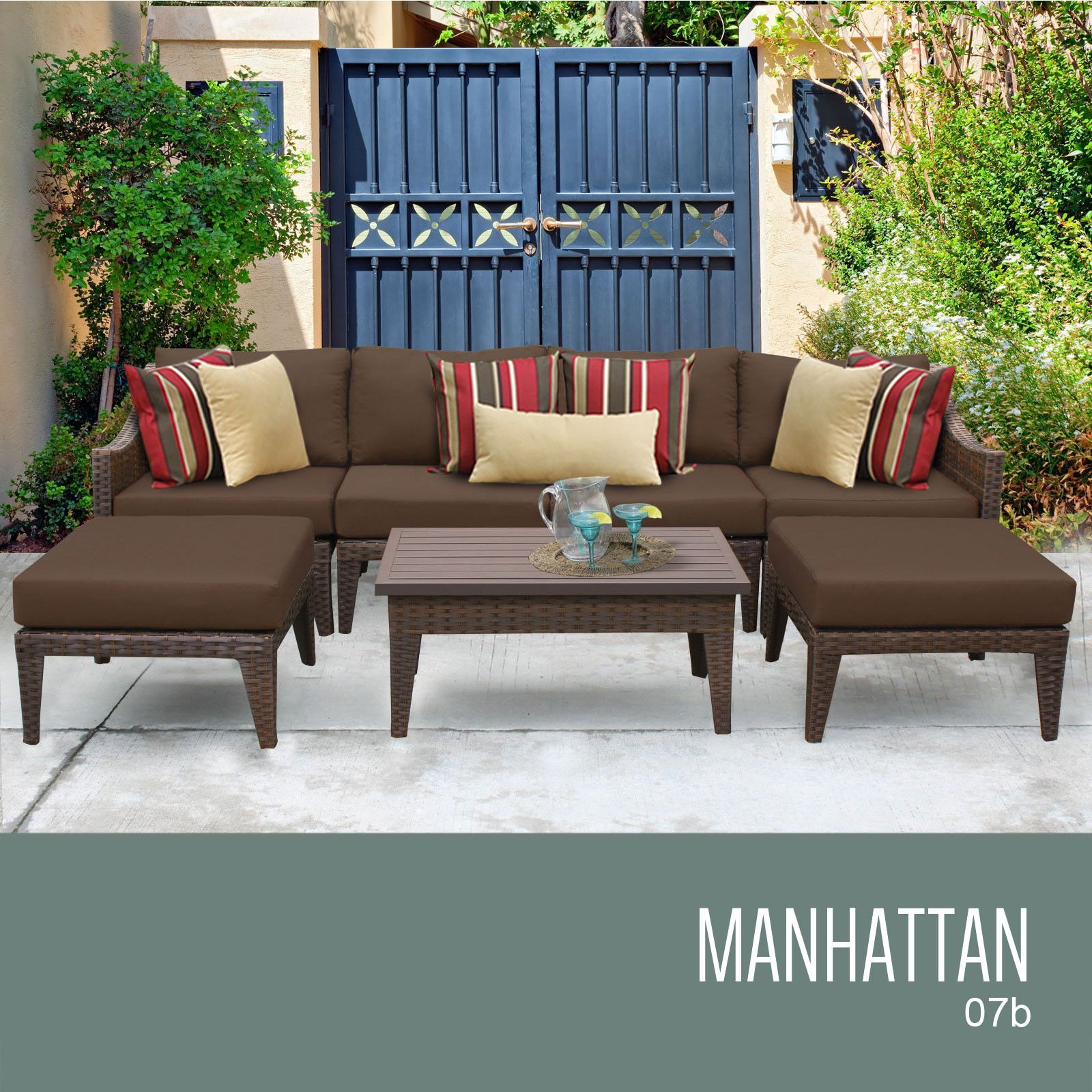 TKC MANHATTAN 7 Piece Outdoor Wicker Furniture Conversation Set 07b, Cocoa