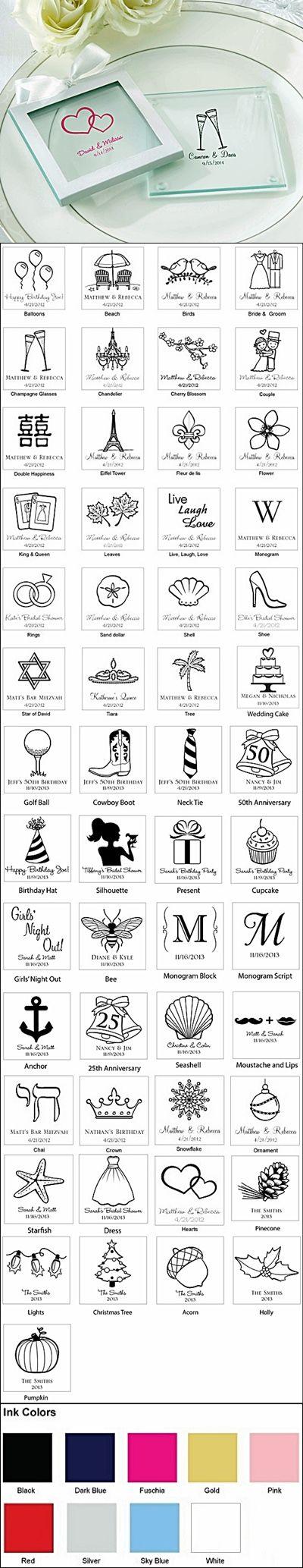 Kate Aspen Stylish Personalized Glass Coasters (Set of 12) | Glass ...