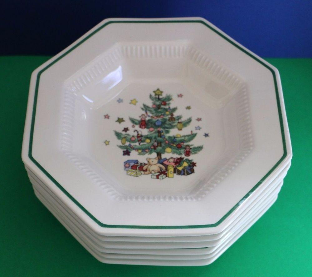 Nikko Christmastime Octagonal Set of 6 Soup Bowls 8\