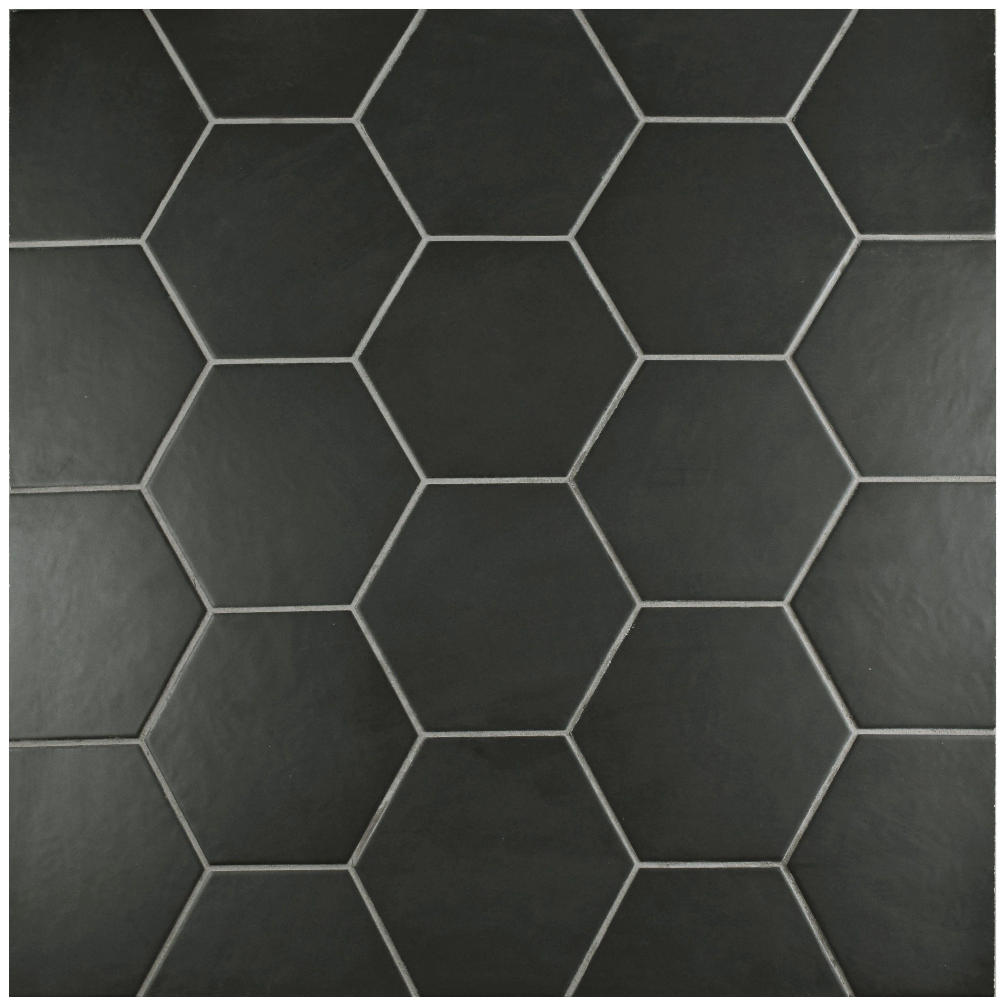 Elitetile hexitile 7 x 8 porcelain field tile in matte black