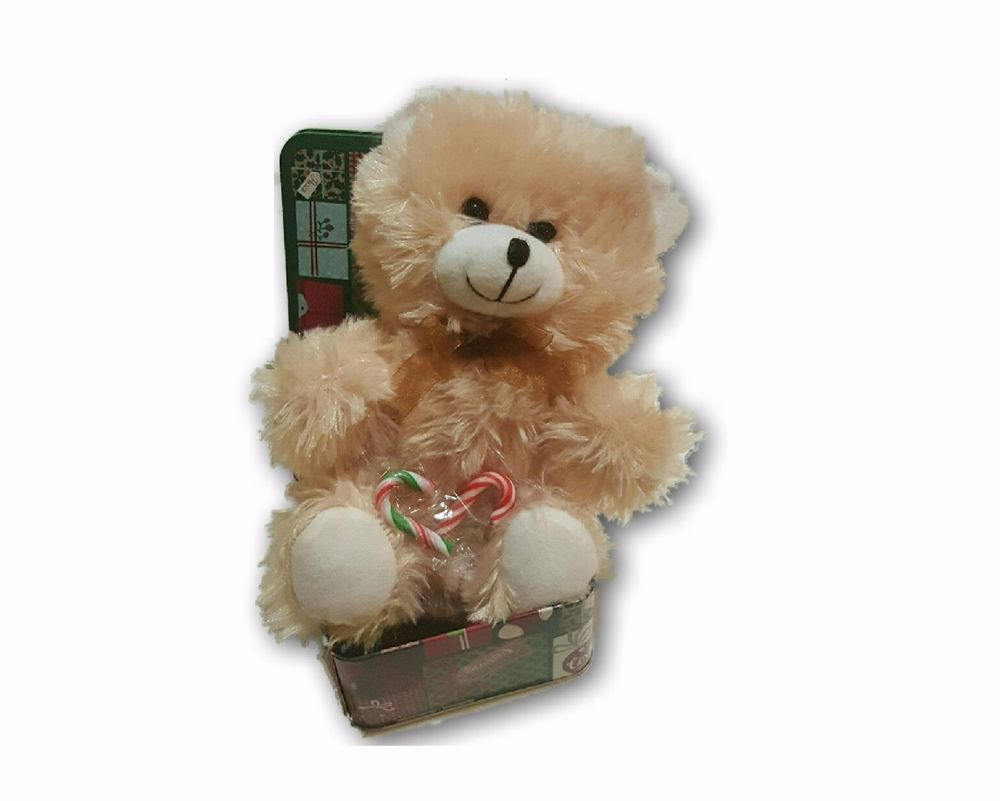 Stuffed Animal Teddy Bear Fuzzy Friends Toy Plush Fur In Gift Candy Storage Can #FuzzyFriends #Christmas