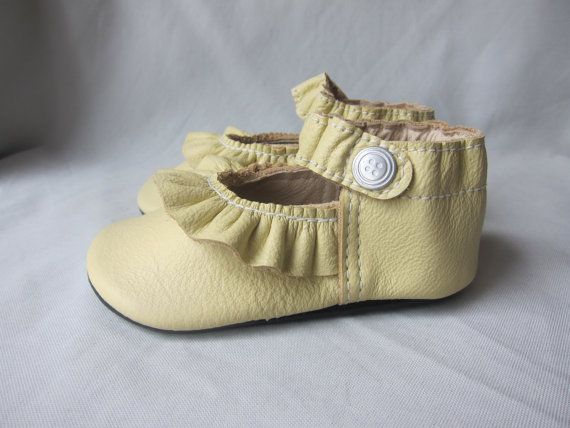 Baby Shoes Ruffled MaryJane Shoe Soft Yellow Leather by podsshoes