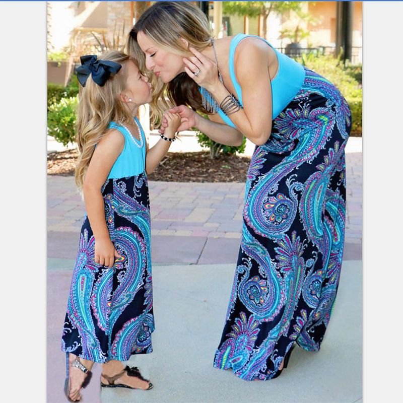 floral sleeveless mother daughter dresses summer fall family look