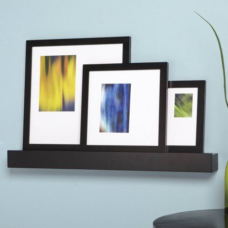 Citi Black 24 Inch Wall Mounted Ledge And 3 Photo Frame Set 13 Inch X 13 Inch 10 Inch X 10 Inch 6 Inch X 8 Inch Picture Frame Sets Picture Frames Frame Set