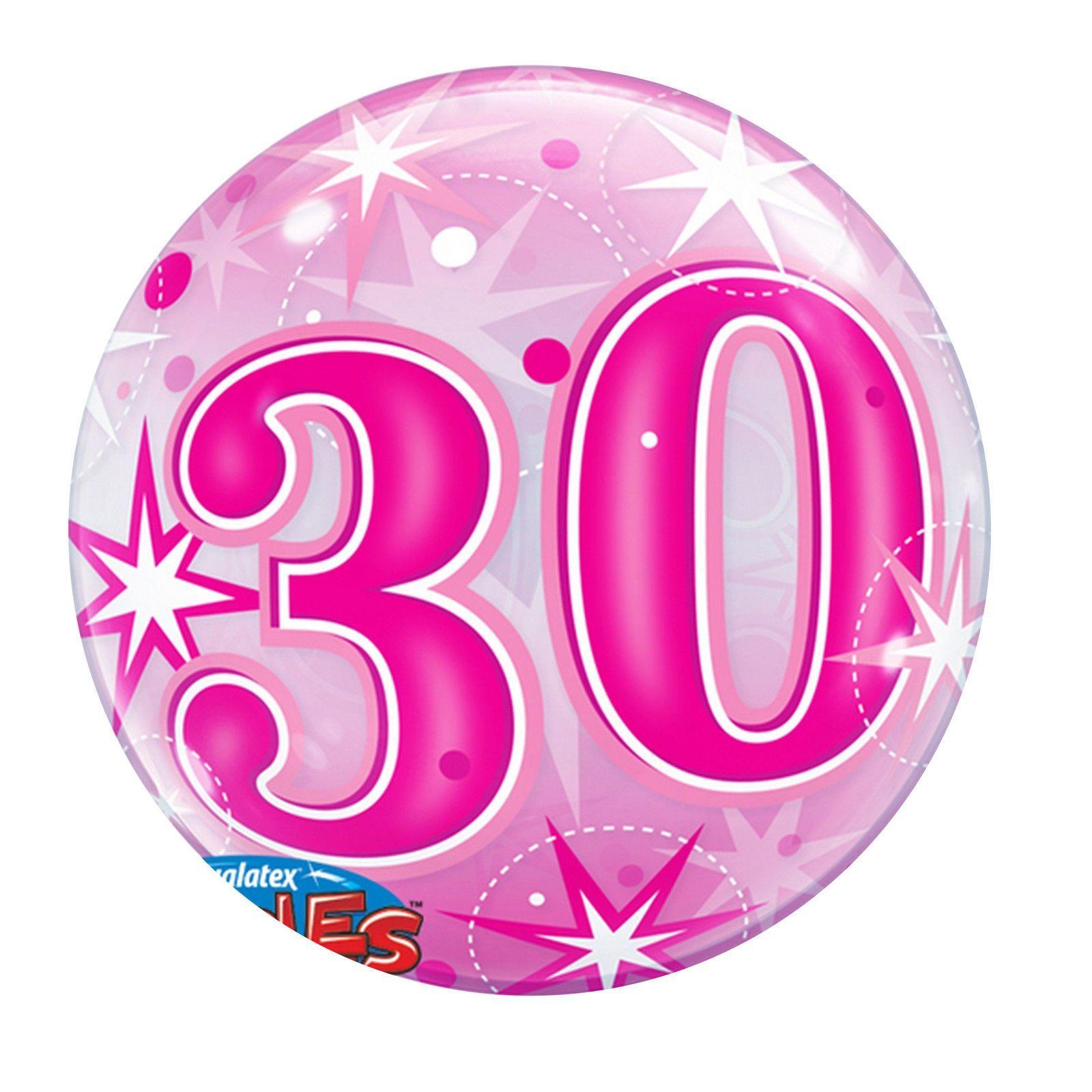 Qualatex 22 Inch 30th Birthday Pink Starburst Bubble Balloon