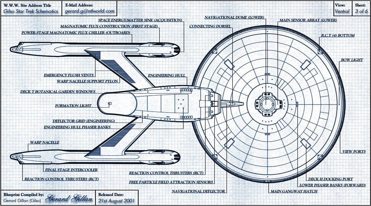 Schematic Rendering Of Constitution Class Starship, Ventral Side