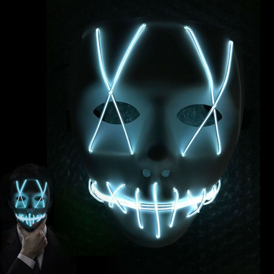 El Cold Light Led Glowing Mask Horror Face Carnival Halloween Bar Cosplay Party Led Glowing Mask Halloween Bar Ghost Light Mask Party