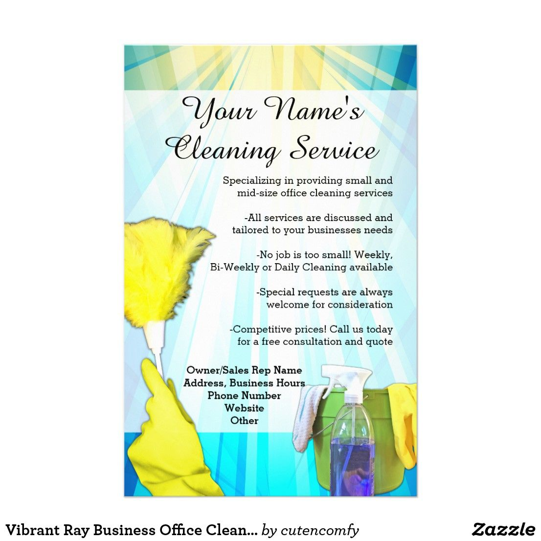 Vibrant Ray Business Office Cleaning Service Flyer Zazzle Com Office Cleaning Services Clean Office Cleaning Service Office clean up day flyer