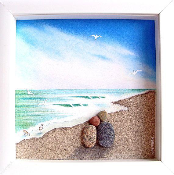 Unique Wedding Gift Beach Engagement Anniversary Theme Coastal Pebble Art