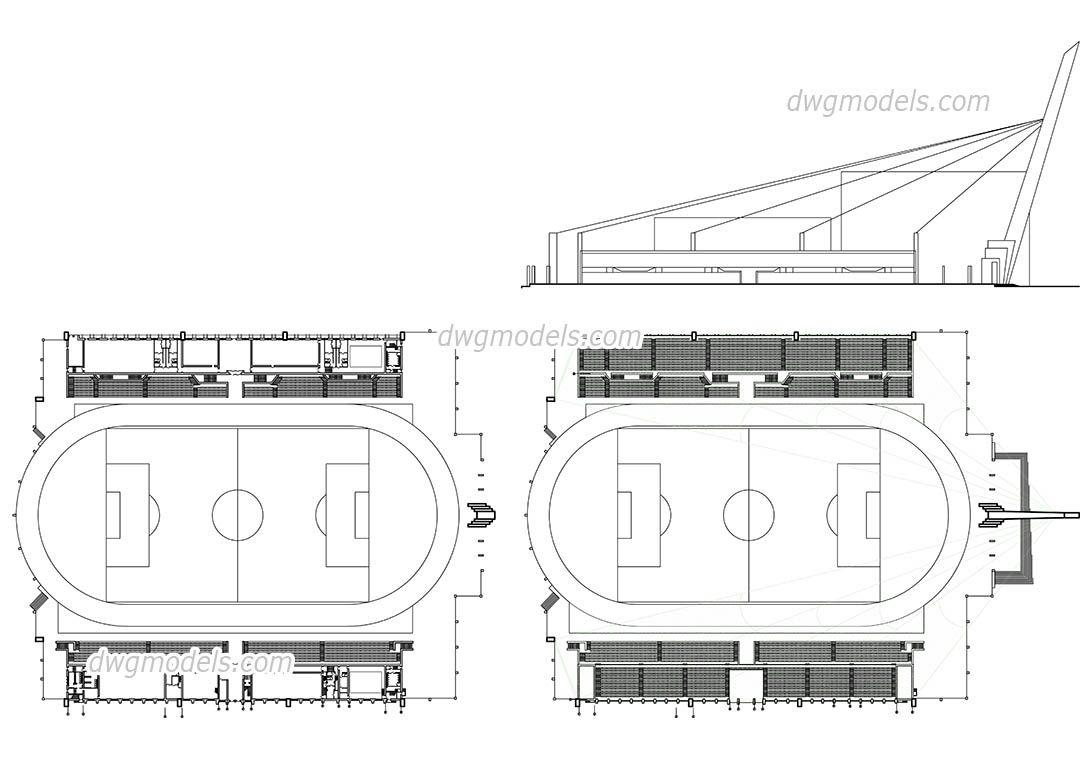 Elevation Plan Cad : Stadium plan elevation cad blocks free dwg file