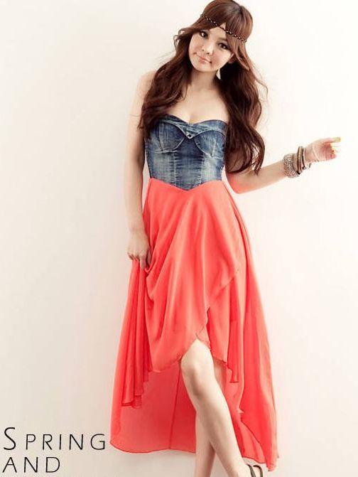 92d5966a0f15b Hot Sale Denim Patched Asymmetrical Chiffon Hem Tube Maxi Dress Item  No.ZR011304RD