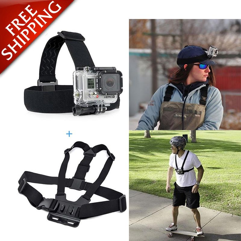 GoPro Accessories Head Belt Strap Chest Harness Mount For SJCAM SJ4000 SJ5000 M10 GoPro HD Hero 4 3+ 3 Xiao Mi Yi sport Camera