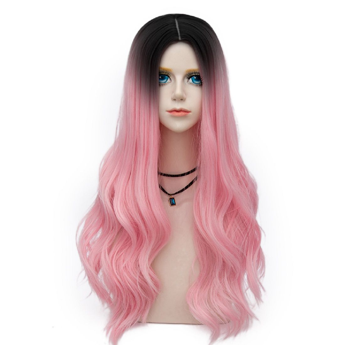 Bombshell Collection 25colors 70cm Long Wavy Synthetic Baby Pink Dark Root Women  Costume Wigs pinkwigs  pinkyhair b5d51c12f