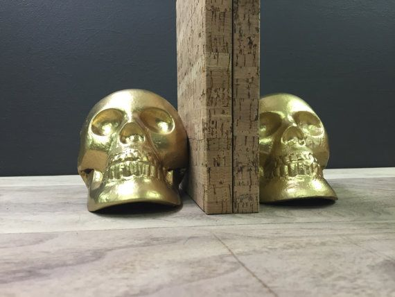 Gold Skull Bookends ~ Heavy Cast Iron Unique Gold Book Ends