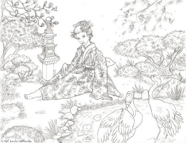 Coloriage japon coloriage pinterest coloriage for Jardin japonais dessin