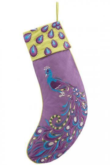 purple peacock stocking burlap christmas stockings embroidered christmas stockings peacock christmas holiday - Purple Christmas Stocking