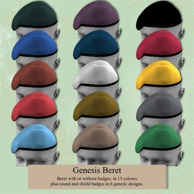 Genesis Military Style Beret in a rainbow of colors