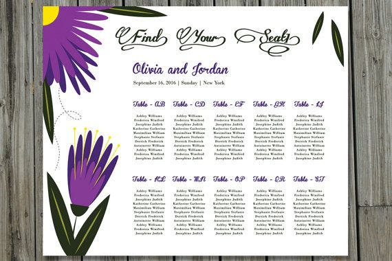 Printable Wedding Seating Chart Floral Seating Chart Poster - microsoft word sign template