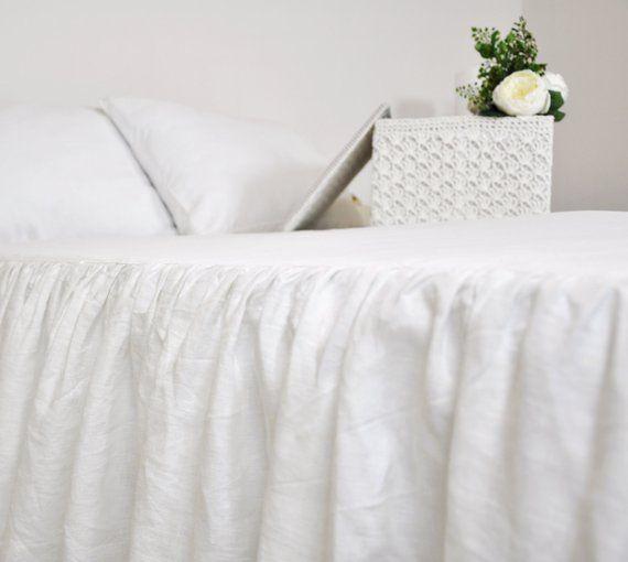 White Linen Bed Skirt Custom Dust Ruffle Queen King Full Ruffled Bedskirt Gathered Beds