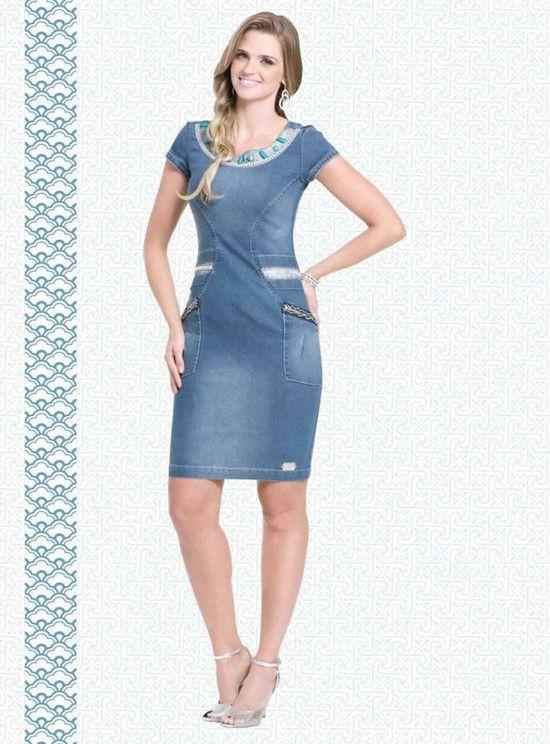 6bfe3d2bb27e vestido-jeans-pedras-raje-jeans-moda-evangelica | denims | Moda ...
