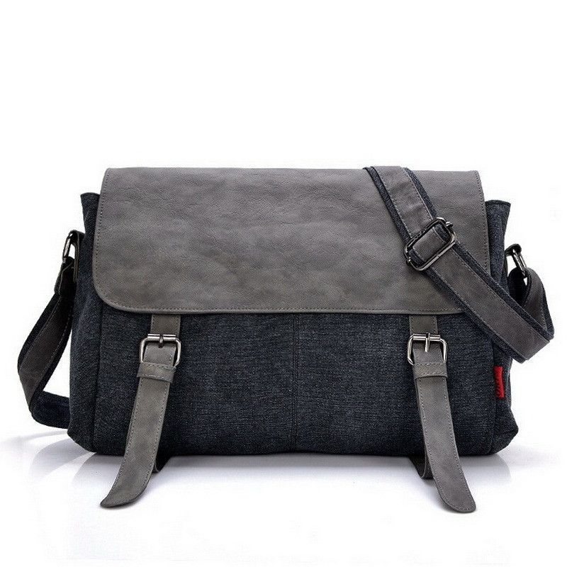 a60508359 High quality canvas +leather men postman bag wholesale messenger bag  vintage canvas shoulder belt bags travel bags for men&women