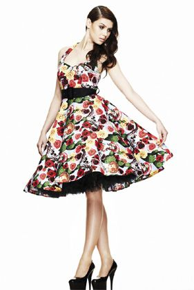 Mexican Day Of The Dead Print Fifties Style Dress