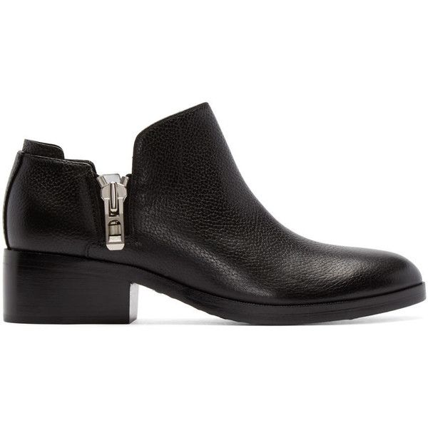 3.1 Phillip Lim Black Alexa Ankle Boots (55805 RSD) ❤ liked on Polyvore featuring shoes, boots, ankle booties, black, black leather booties, leather bootie, black leather bootie, black boots and black booties