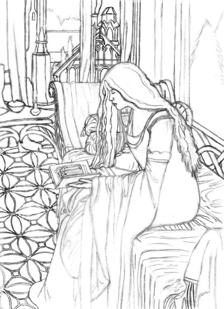 Arwen Reading Line Art By Ainulaire Jpg 761 1049 Line Art Art Coloring Pages