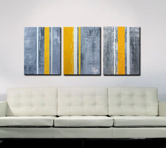Abstract Art Abstract Painting Yellow Grey Yellow Gray Art - Triptych - Shipping inculded within Continental US - Original Abstract Painting. $295.00, via Etsy.