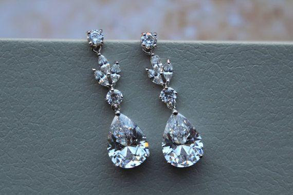 Set of 3, 4, 5 Art Deco Earrings, Bridal Earrings, Wedding Earrings, Bridal Jewelry ,Dangle Earrings, Crystal Teardrop Earrings Bridesmaid