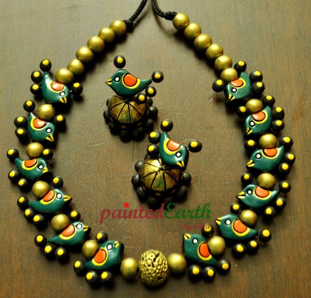 Terracotta Bird Set Dark Green Art Jewelry Women Accessories World Art Commu Terracotta Jewellery Designs Terracotta Jewellery Making Teracotta Jewellery