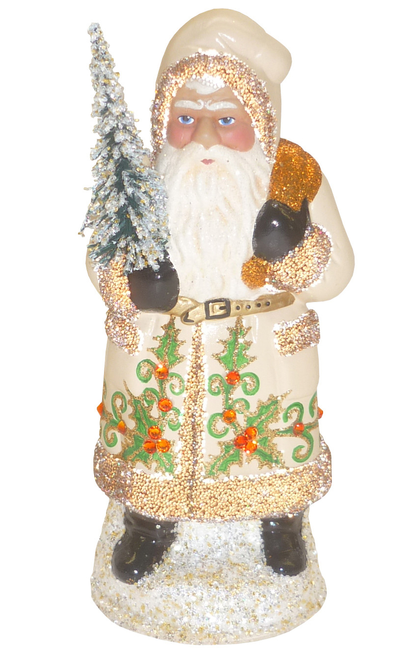 18156 Santa With Creme Coat Schaller Paper Mache Candy Container Blackforestgifts Com Candy Containers Paper Mache Santa