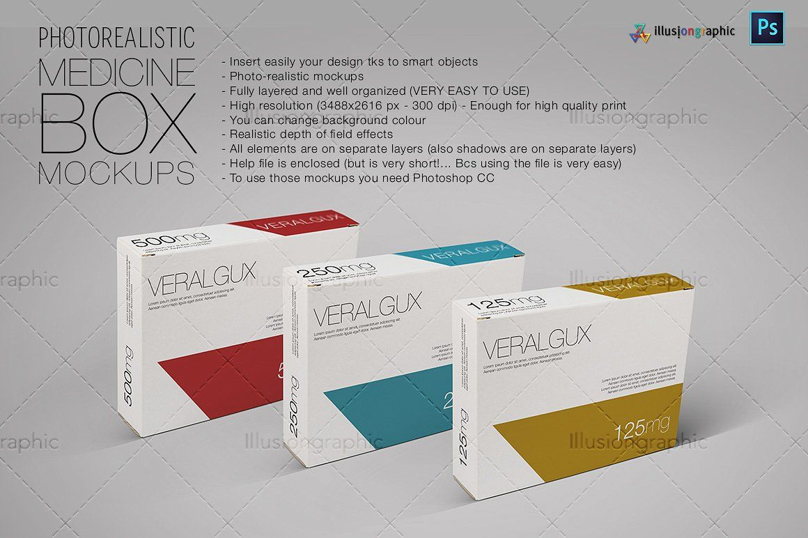 Photorealistic Medicine Box Mockups | Mock up and Packaging design