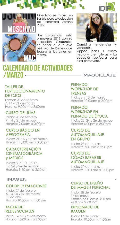 Calendario de actividades IDIP; maquillaje y diseño de imagen