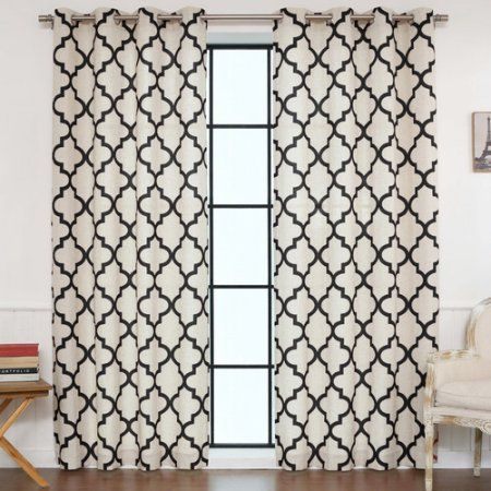 Black And Cream Quatrefoil Curtains Geometric Curtains Drapes