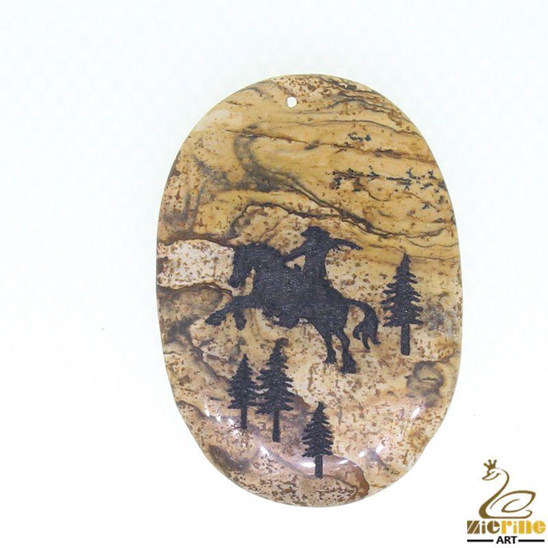 Western Pendant Hand Painted Horses Natural Picture Jasper   ZL00952 #ZL #Pendant