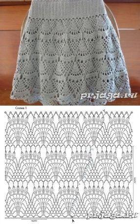 Häkelrock (Häkelschrift)   Häkelkleidung   Pinterest