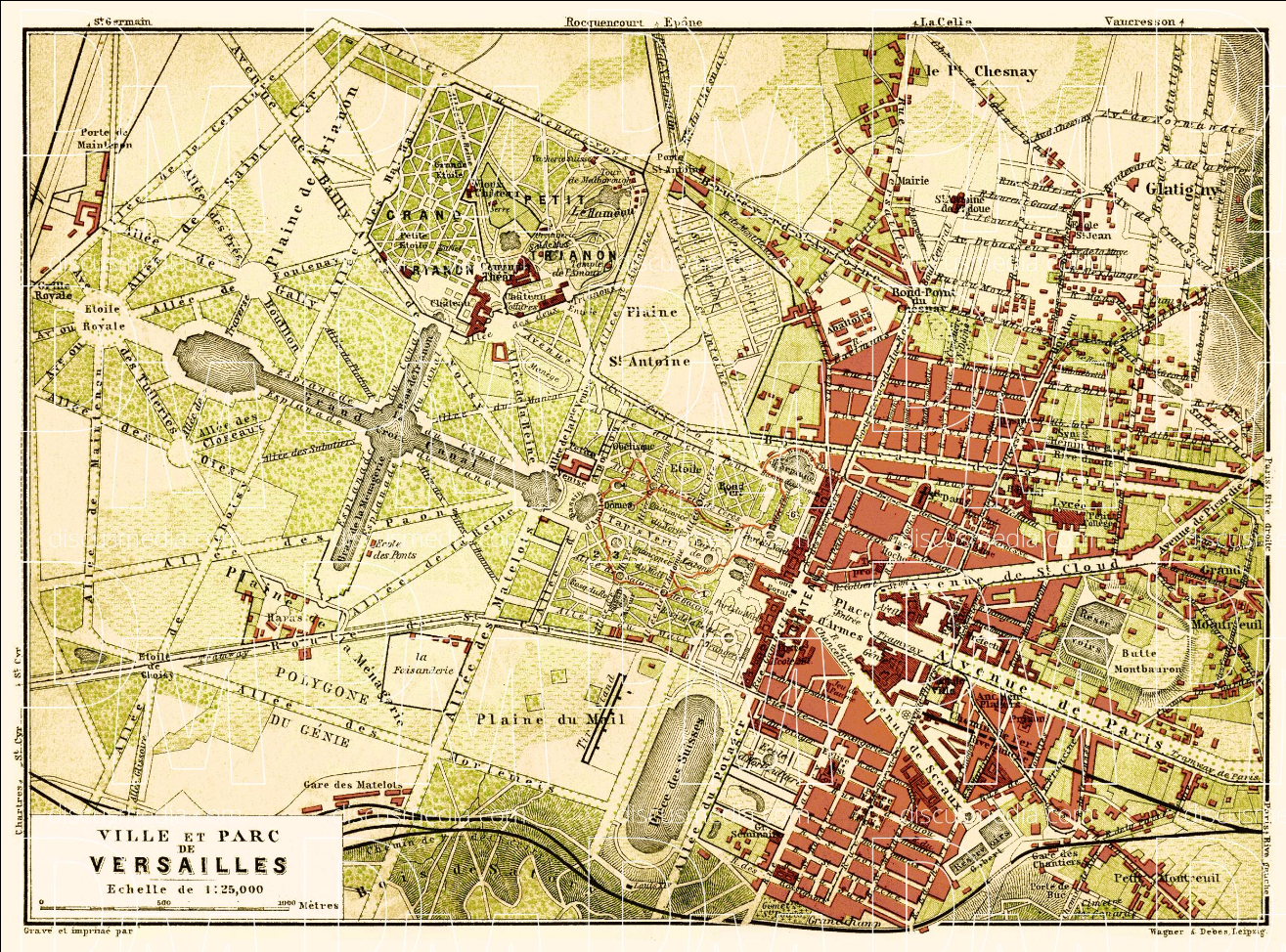 The Map Of France With The City.Map Of The Palace And City Of Versailles 1903 Map France