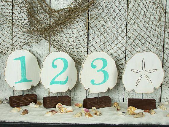 Beach Wedding Decor Sand Dollar Wooden Table Numbers Beach Theme