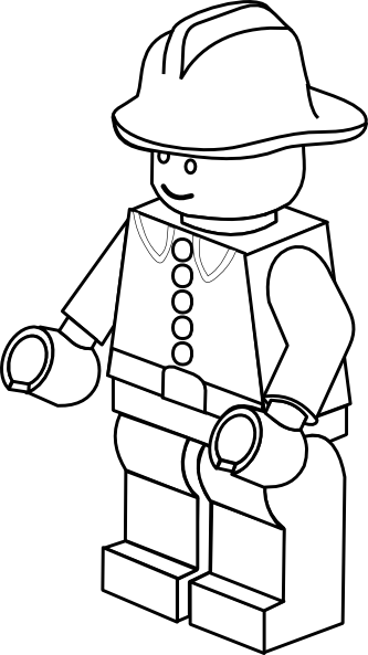 lego man worker coloring pages | Lego Town Fireman Black White Art Clip Art | Lego coloring ...