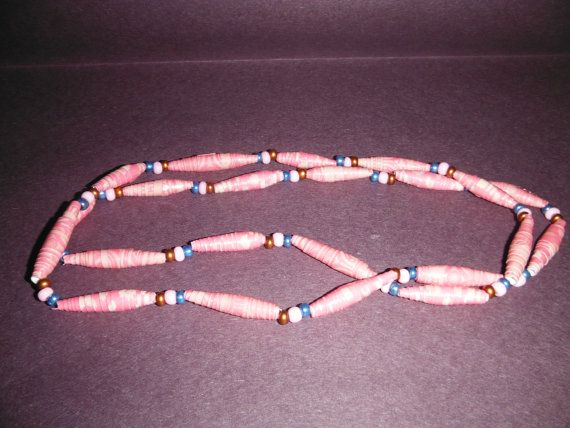 29 one of a kind paper and glass bead necklace by DandDsJewels, $10.00