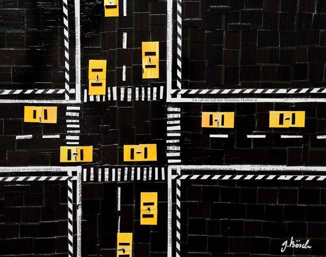 NY-Metro Card Collagen von Nina Boesch einer Deutschen Künstlerin, die in New York lebt.