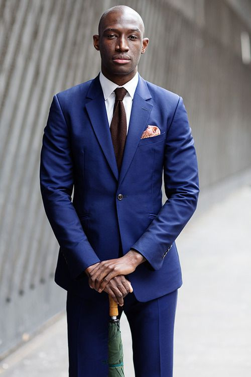 A trendy autumn look: indigo blue suit, paired with crisp white ...
