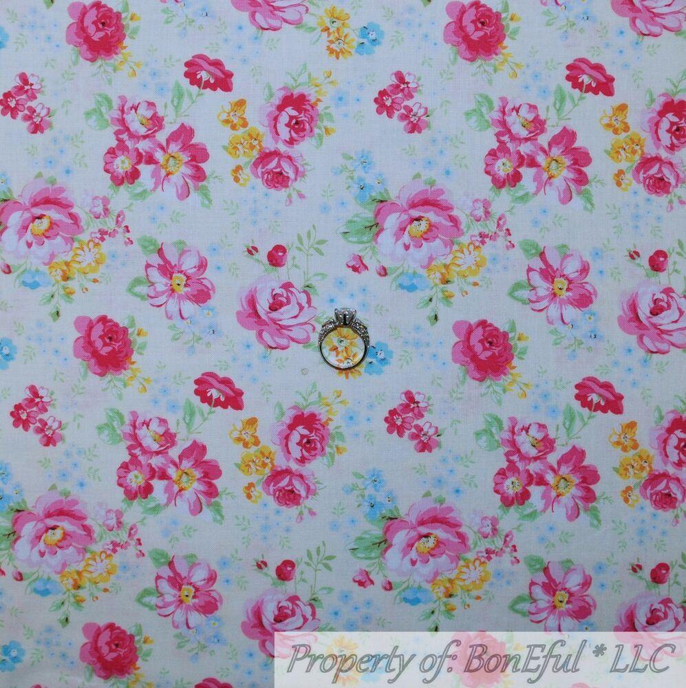 BonEful Fabric FQ Cotton Quilt Aqua Blue Pink White Victorian Rose Flower Garden