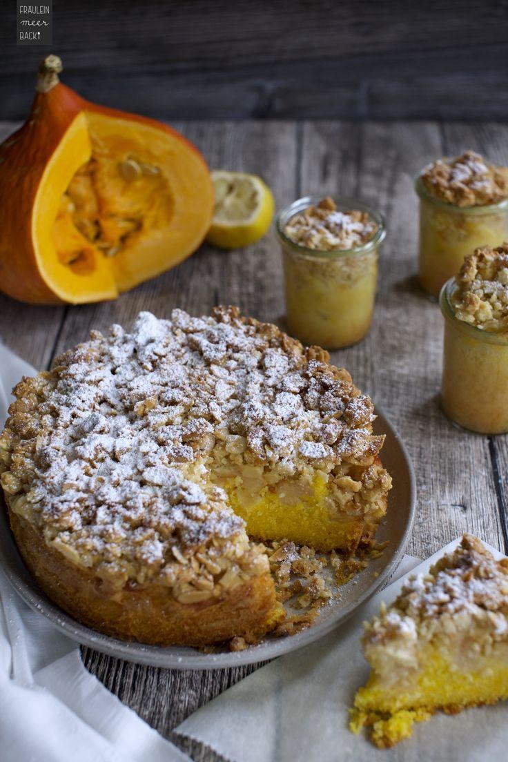 Kürbis-Apfel-Kuchen mit Mandelkruste - Fräulein Meer backt #leckerekuchen