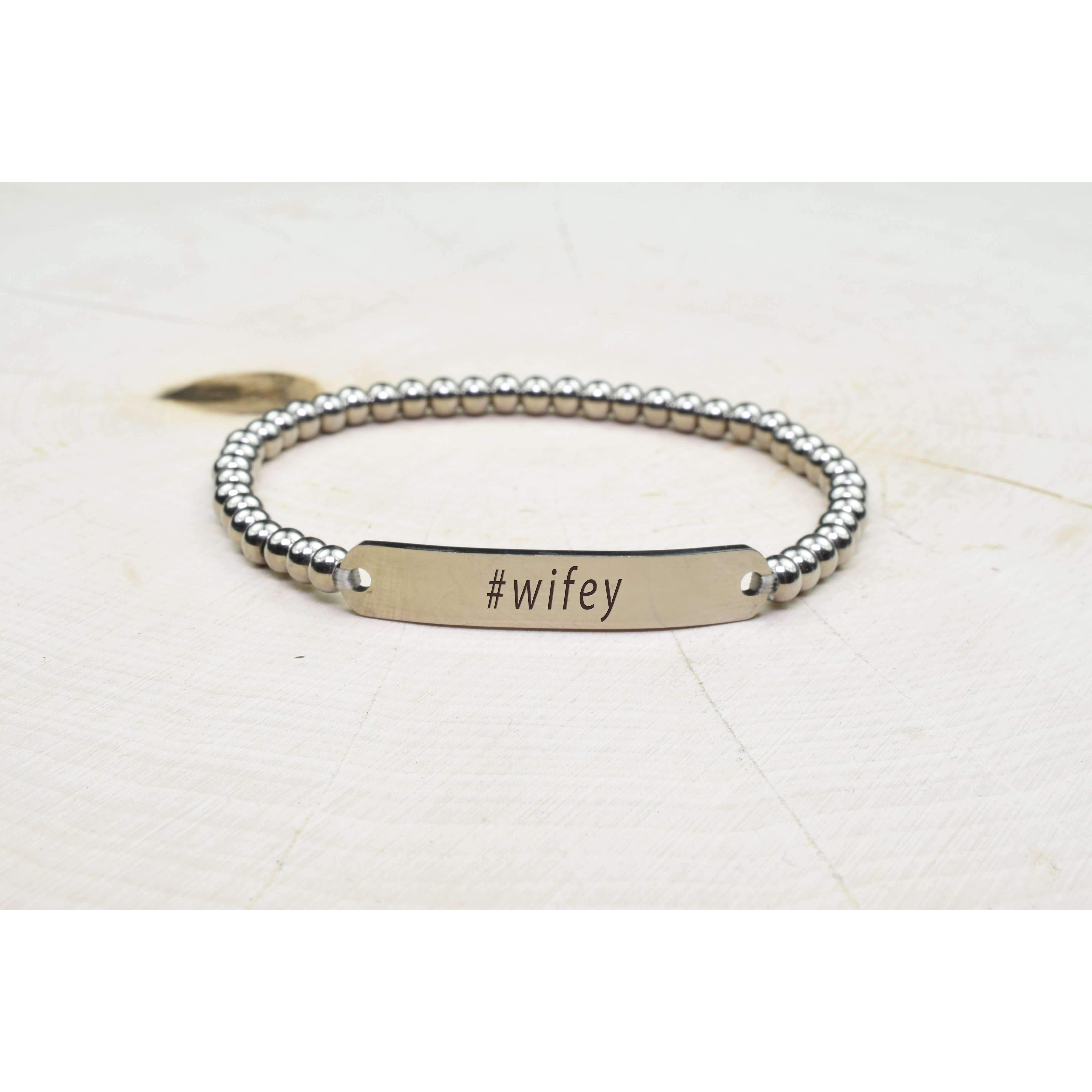 Wifey Pink Box Solid Stainless Steel Beaded Hashtag Bracelet